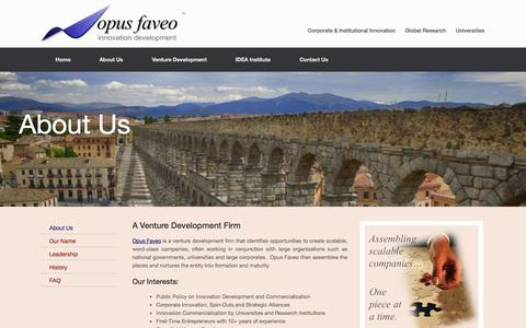 Screenshot of About Page opus-faveo.com - About Us | Opus Faveo Innovation Development - captured Oct. 7, 2014