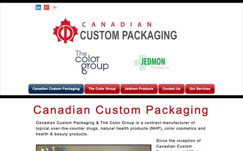 Screenshot of Home Page cdncustompackaging.com - ccpandtcg - captured Sept. 26, 2018