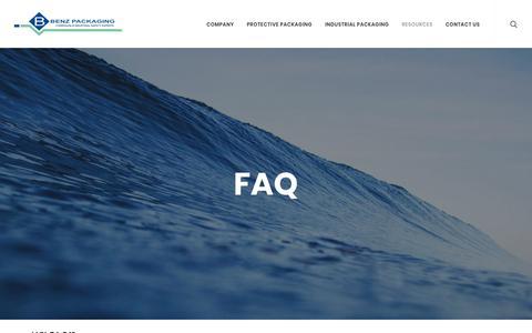 Screenshot of FAQ Page benz-packaging.com - FAQ | Benz Packaging - captured Oct. 9, 2017