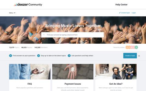 Screenshot of Support Page deezercommunity.com - Deezer Community | Deezer Community, bringing music lovers together - captured Aug. 13, 2019
