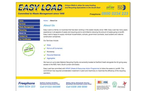 Screenshot of About Page easy-load.co.uk - Waste Management | Skip Hire specialists | Based in Dartford Kent - captured Sept. 27, 2014
