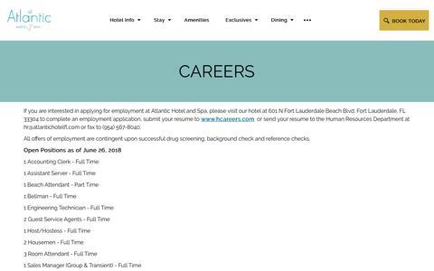 Screenshot of Jobs Page atlantichotelfl.com - Hotel Jobs in Fort Lauderdale | The Atlantic Hotel & Spa - captured Sept. 25, 2018