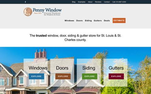 Screenshot of Home Page pennywindowstl.com - Replacement Windows - Doors - Siding - St Louis - St Charles - captured Sept. 20, 2015