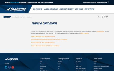 Screenshot of Terms Page inghams.co.uk - Ski Holidays, Lakes and Mountains, Lapland & Christmas Market Holidays with Inghams - captured Sept. 22, 2014