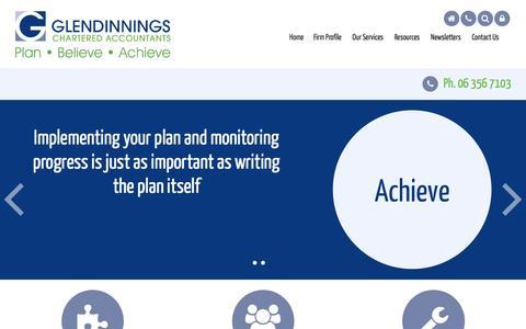 Screenshot of Menu Page glendinnings.co.nz - Accounting, Business, Glendinnings Chartered Acccountants, Palmerston North, New Zealand - captured Jan. 29, 2016