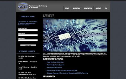 Screenshot of Services Page actthawaii.com - Services | ACTT - captured Oct. 4, 2014