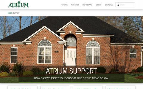 Screenshot of Support Page atrium.com - Support | Atrium Windows & Doors - captured Sept. 25, 2018