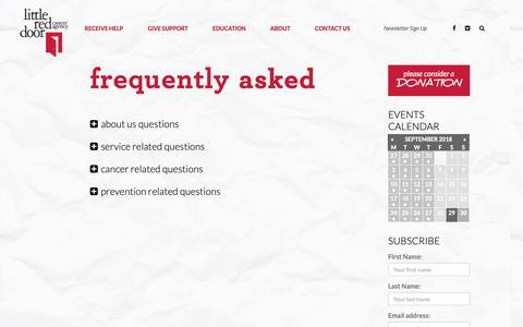 Screenshot of FAQ Page littlereddoor.org - Frequently Asked - Little Red Door - captured Sept. 29, 2018
