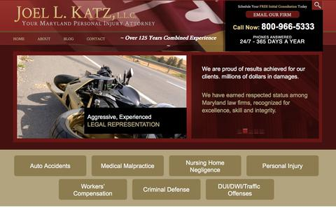 Screenshot of Home Page joelkatzllc.com - Annapolis Personal Injury Attorneys | Car Accident Lawyers - Chestertown - captured Jan. 26, 2016