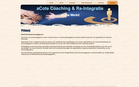 Screenshot of Privacy Page acote.nl - Privacy   aCote Coaching & Re-IntegratieaCote Coaching & Re-Integratie - captured Oct. 4, 2014
