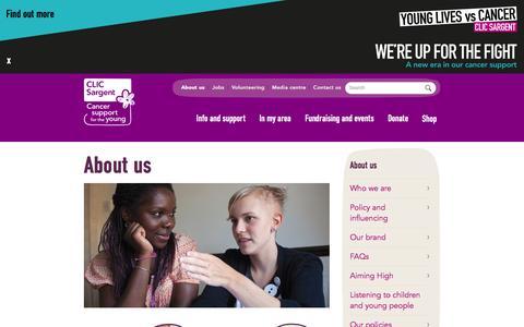 Screenshot of About Page clicsargent.org.uk - About us | CLIC Sargent - captured Nov. 1, 2016