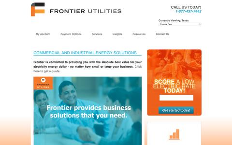 Screenshot of Products Page frontierutilities.com - Frontier Utilities - Texas > Services > Commercial - captured Jan. 8, 2016
