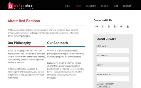Screenshot of About Page redbamboomarketing.com - About Red Bamboo Marketing | NJ Marketing Agency - captured Oct. 29, 2014