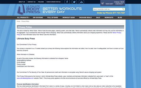 Screenshot of Privacy Page ultimatebodypress.com - Privacy Policy - captured Sept. 21, 2018