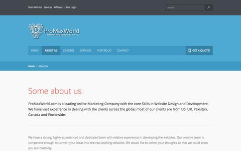 Screenshot of About Page promaxworld.com - About us -  Web Designing, WebDevelopment, Graphics, Branding, SEO, ProMaxWorld - captured Oct. 3, 2014