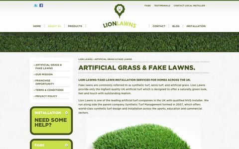 Screenshot of About Page lionlawns.co.uk - Lion Lawns: Fake Lawns, Synthetic Turf, Artificial Grass for Homes - captured Oct. 1, 2014