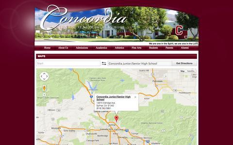 Screenshot of Maps & Directions Page concordiahigh.com - Concordia Junior/Senior High School - captured Oct. 3, 2014