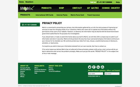 Screenshot of Privacy Page matrix.in - Matrix : Privacy Policy|Customer Privacy Policy - captured Oct. 27, 2014