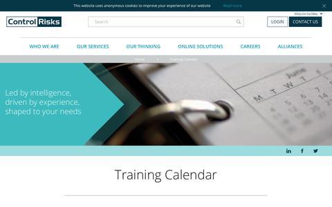 Screenshot of controlrisks.com - Training Calendar - captured Nov. 14, 2017