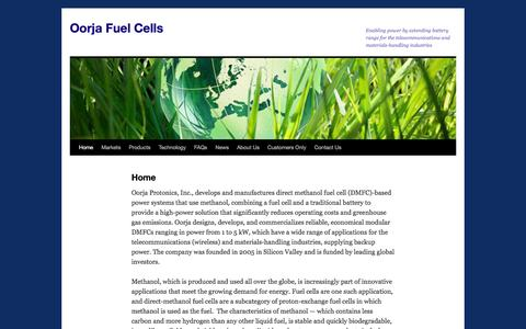 Screenshot of Home Page oorjafuelcells.com - Oorja Fuel Cells | Enabling power by extending battery range for the telecommunications and materials-handling industries - captured Dec. 4, 2015