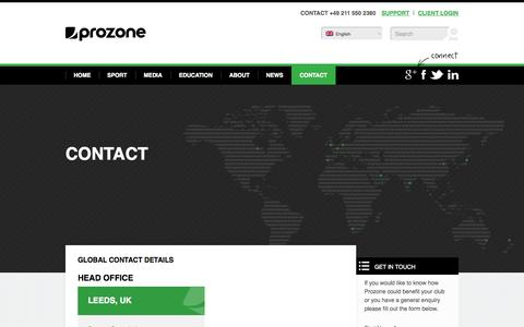 Screenshot of Contact Page prozonesports.com - Get in touch with Prozone Sports - captured Sept. 19, 2014