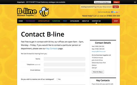 Screenshot of Contact Page b-line.co.uk - Contact us - B-line Business Supplies - b-line.co.uk - captured July 24, 2017