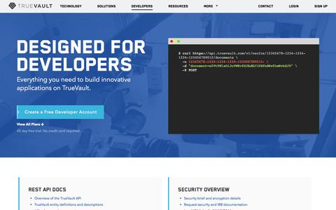 Screenshot of Developers Page truevault.com - Build HIPAA compliant and secure applications - TrueVault - captured Feb. 21, 2016