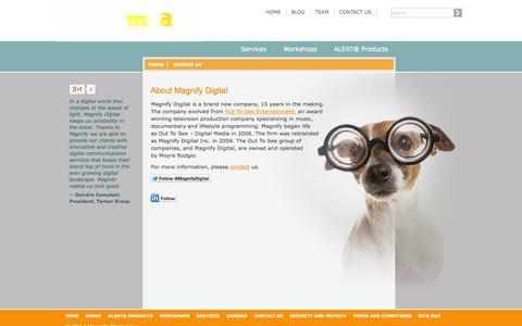 Screenshot of About Page magnifydigital.com - Television & Film Strategy, Social Media & Internet Marketing | Magnify Digital Inc. - captured Oct. 4, 2014