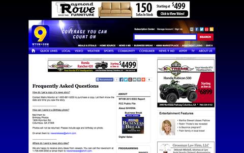Screenshot of FAQ Page wtvm.com - Frequently Asked Questions - WTVM.com-Columbus, GA News Weather & Sports - captured Sept. 23, 2014