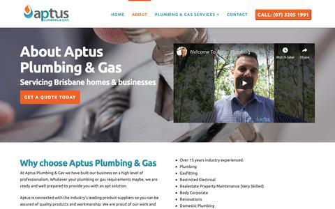 Screenshot of About Page aptusplumbing.com.au - About Aptus Plumbing & Gas - Experienced, Quality Plumbing Brisbane - captured Oct. 21, 2018