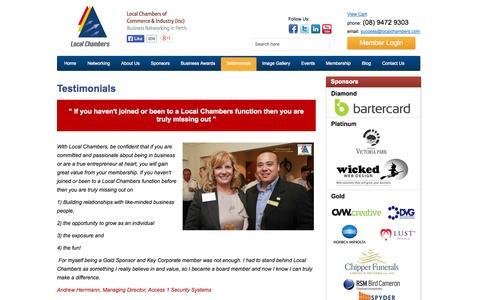 Screenshot of Testimonials Page localchambers.com - Testimonials - Local Chambers   Commerce & Industry (Inc) - captured Oct. 3, 2014