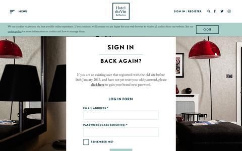 Screenshot of Login Page hotelduvin.com - Login to Your Account - Hotel du Vin & Bistro - captured July 23, 2018