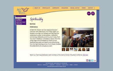 Screenshot of Services Page bethshirshalom.org - Services | Beth Shir Shalom - captured Feb. 7, 2016