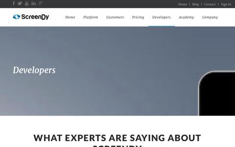 Screenshot of Developers Page screendy.mobi - developers | ScreenDy - captured Oct. 27, 2014