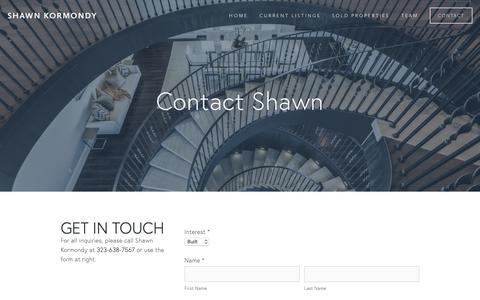 Screenshot of Contact Page shawnkormondy.com - Contact — Shawn Kormondy - captured Oct. 6, 2018
