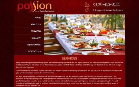 Screenshot of Services Page passioneventsuk.com - Passion :: - captured Oct. 24, 2016