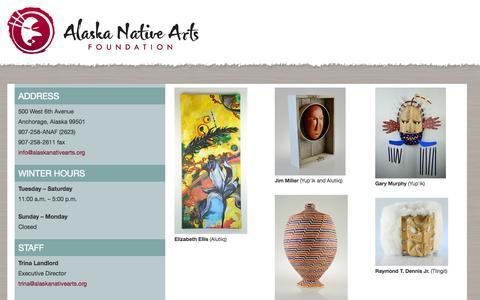 Screenshot of Hours Page alaskanativearts.org - Alaska Native Arts Foundation - captured Oct. 4, 2014