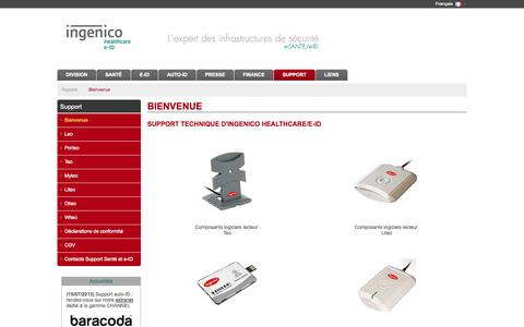 Screenshot of Support Page ingenico.com - Ingenico Healthcare/e-ID - Support - captured Oct. 27, 2014