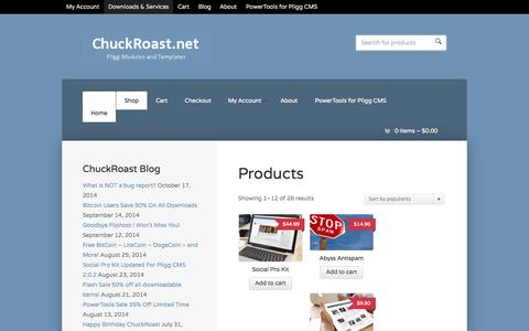 Screenshot of Products Page chuckroast.net - Products | ChuckRoast.net - captured Oct. 31, 2014
