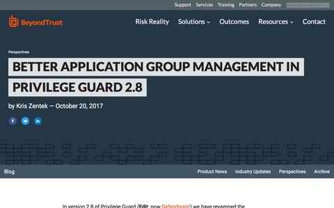 Screenshot of Team Page beyondtrust.com - Better Application Group Management in Privilege Guard 2.8 | BeyondTrust - captured Jan. 3, 2020