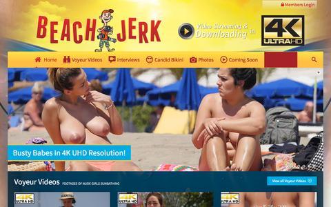 Screenshot of Home Page beachjerk.com - Beach Jerk   Topless Beach Interviews – Beach Voyeur Footage – Candid Bikini Videos - captured Oct. 12, 2015