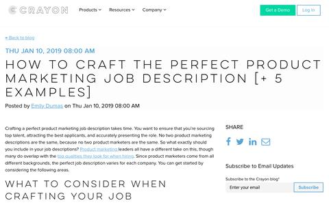 Screenshot of Jobs Page crayon.co - How to Craft the Perfect Product Marketing Job Description [+ 5 Examples] - captured Nov. 26, 2019