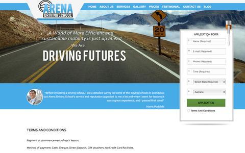 Screenshot of Terms Page arenadrivingschool.com.au - Driving Schools Wanneroo | Driving Lessons Wanneroo | Driving Instructors Wanneroo | Driver Training Joondalup - Arena Driving School - captured Dec. 26, 2015