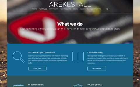 Screenshot of Services Page arekestall.co.uk - Services |  Arek Estall - captured March 5, 2016