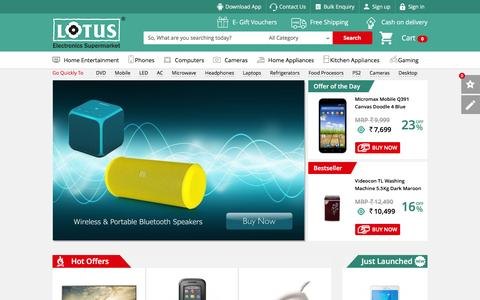 Screenshot of Home Page lotuselectronics.com - Lotus Electronics - India's Leading Online Electronics Shopping Store To Buy Electronic Products Online - captured Dec. 13, 2015