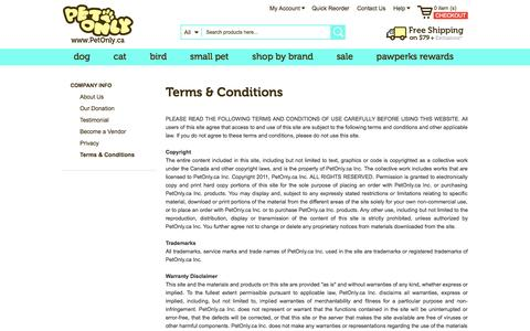 Screenshot of Terms Page petonly.ca - Terms & Conditions - captured Sept. 22, 2014