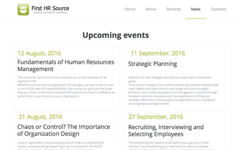 Screenshot of Press Page hr-source.com - First HR Source - News - captured Oct. 13, 2016