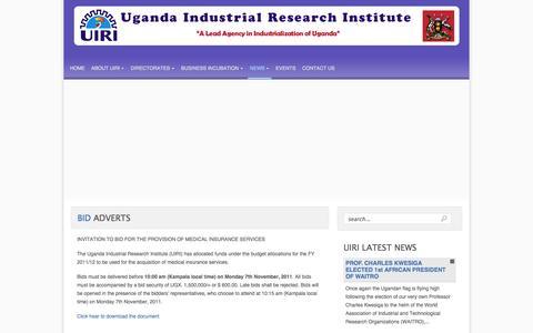 Screenshot of Press Page uiri.org - Bid Adverts - captured Oct. 4, 2014