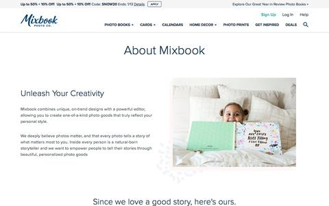 Screenshot of About Page mixbook.com - About Mixbook - Mixbook - captured Jan. 9, 2020