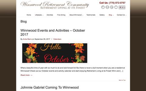 Screenshot of Blog winnwoodretire.com - Blog - Winnwood Retirement Community Marietta, GA - captured Oct. 21, 2017